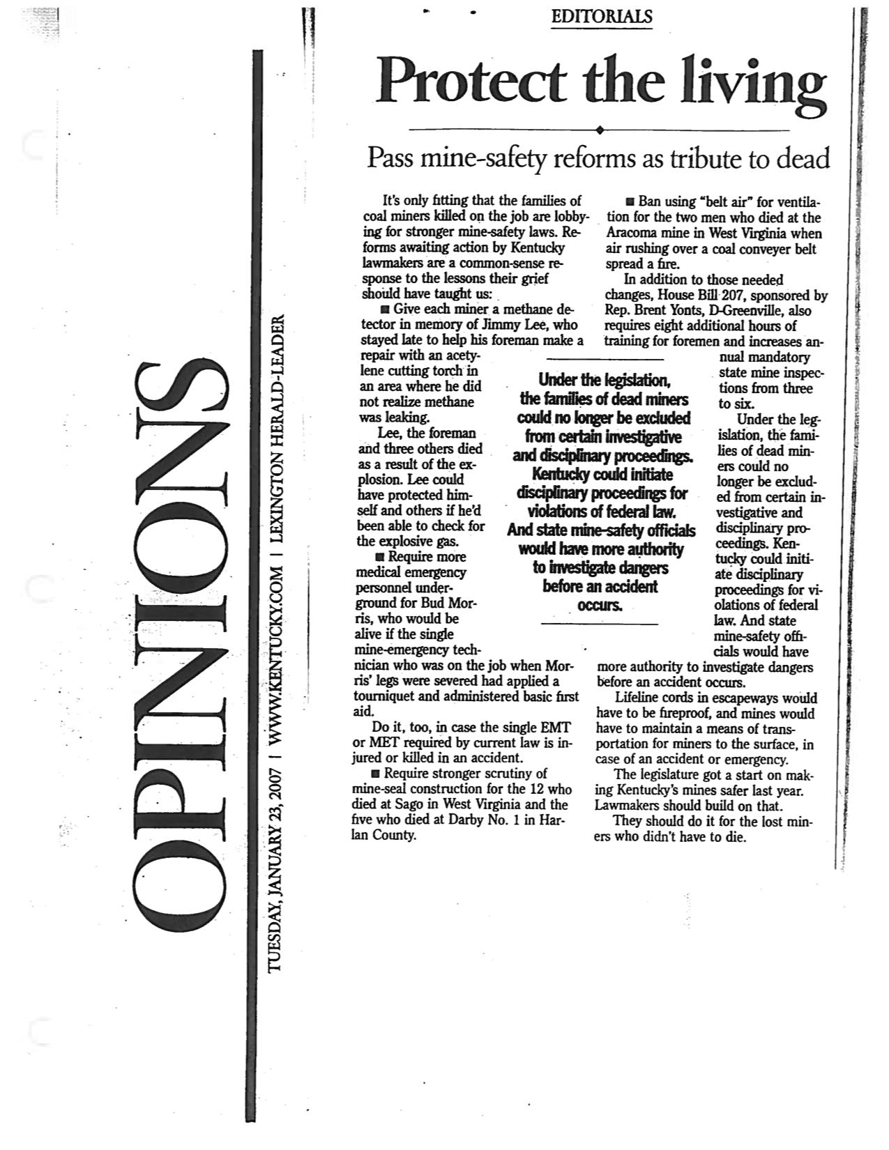 An editorial from the Lexington Herald-Leader, challenging lawmakers to pass mine safety legislation as a tribute to miners who have died on the job. [Click to expand]